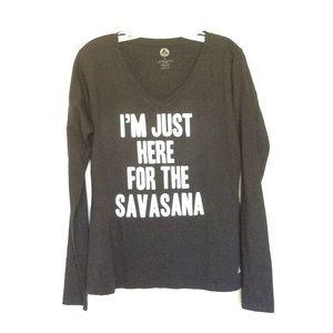 I'm Just Here for Savasana Yoga v Neck Tee